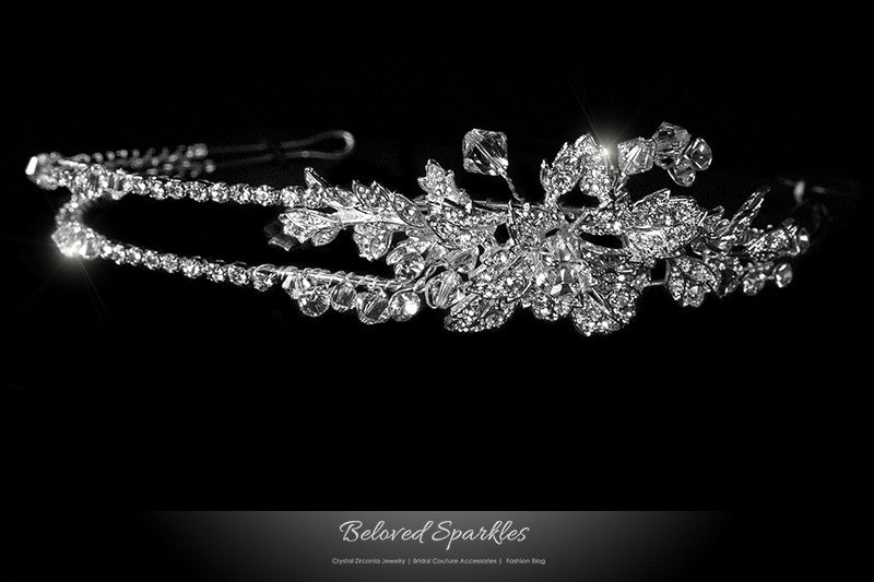 Sandra Two Row Floral Silver Headband | Swarovski Crystal - Beloved Sparkles  - 1