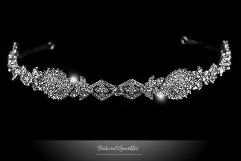 Kristy Art Deco Cluster Silver Headband | Swarovski Crystal - Beloved Sparkles  - 1