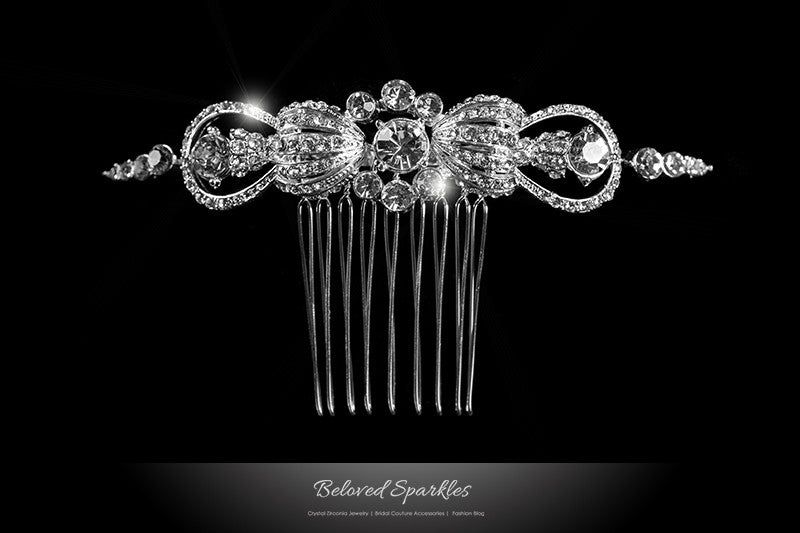 Dextra Vintage Bow Hair Comb | Swarovski Crystal - Beloved Sparkles