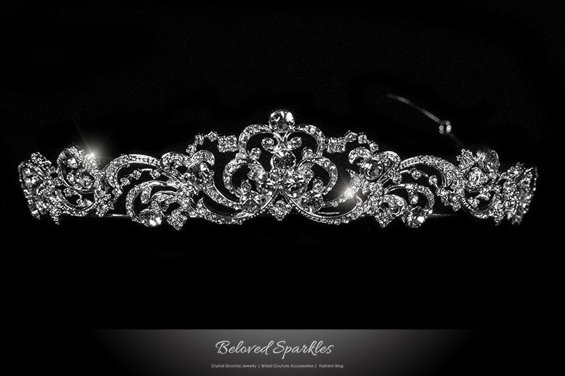 Brianna Romantic Royal Silver Tiara | Swarovski Crystal - Beloved Sparkles  - 1