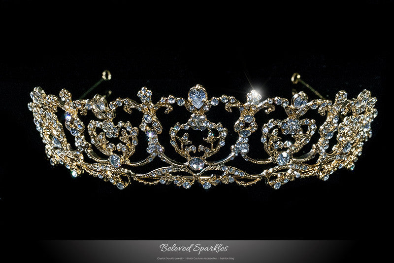 Olina Heart Cluster Gold Tiara | Swarovski Crystal - Beloved Sparkles  - 1
