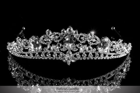 Devora Royal Silver Statement Tiara | Swarovski Crystal