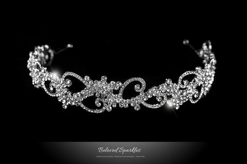 Bethany Swirl Filigree Silver Headband | Swarovski Crystal - Beloved Sparkles  - 1