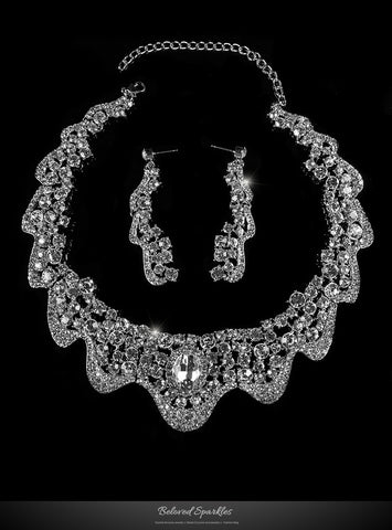 Lenita Romantic Ribbon Wave Necklace Set | Crystal