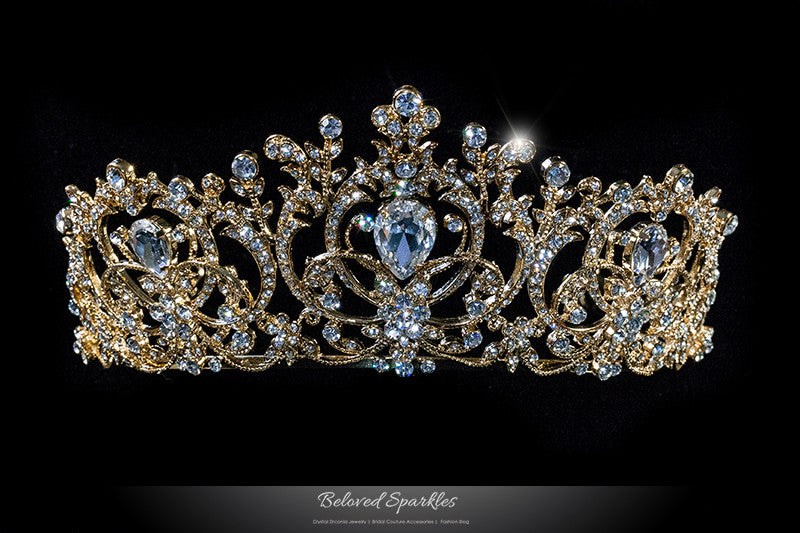 Lucia Victoria Statement Gold Tiara | Swarovski Crystal - Beloved Sparkles  - 1