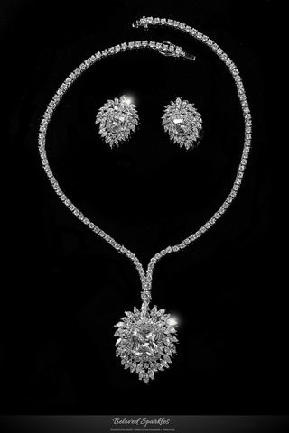 Brisa Vintage Royal Cluster Pendant Necklace Set | 80 Carat | Cubic Zirconia - Beloved Sparkles