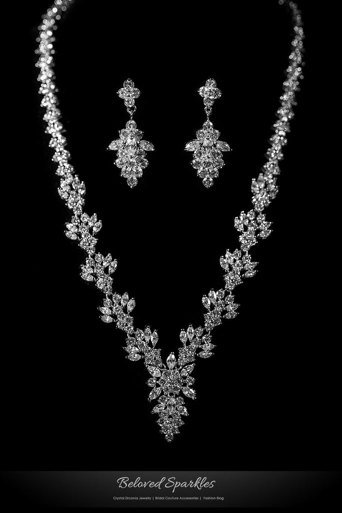 Nichelle Marquise Cluster Statement Necklace Set | Cubic Zirconia - Beloved Sparkles  - 1