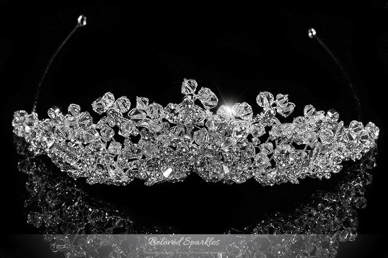Madison Garden Cluster Silver Tiara | Swarovski Crystal - Beloved Sparkles  - 1