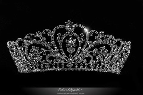 Lorelei Royal Statement Silver Tiara | Swarovski Crystal - Beloved Sparkles  - 1