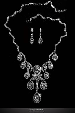 Amadela Vintage Teardrop Necklace Set | 80 Carat | Cubic Zirconia