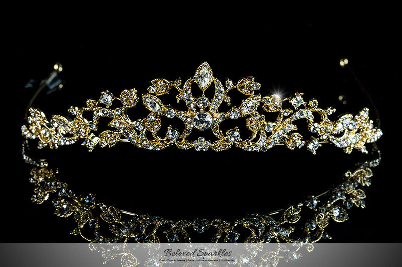 Nedda Art Deco Filigree Tiara | Gold | Swarovski Crystal - Beloved Sparkles  - 1