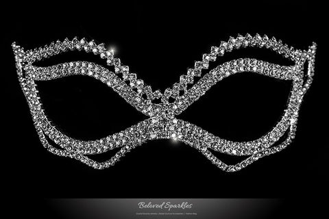 Jessie Wavy Passion Masquerade Mask | Crystal - Beloved Sparkles  - 3