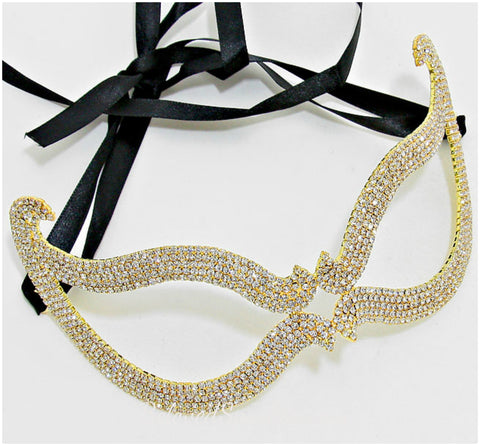 Bijou Romantic Cat Eye Crystal Masquerade Mask | Crystal | Gold