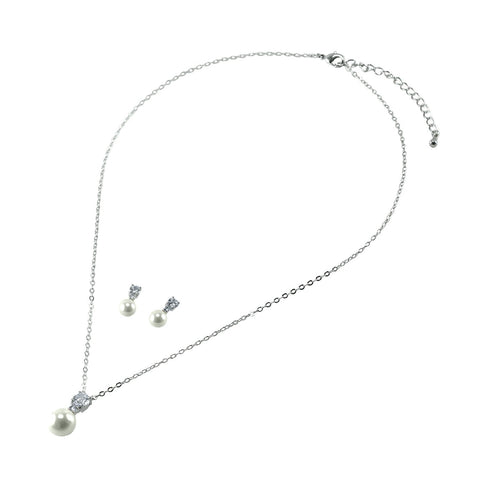 Birgit CZ Pearl Drop Pendant and Earrings Set