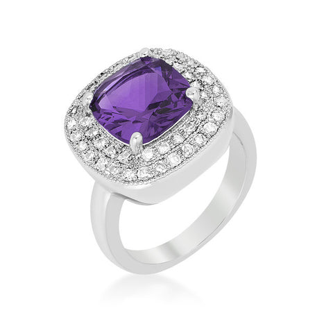 Blair Amethyst Purple Cushion Cut Cocktail Ring | 5 Carat | Cubic Zirconia