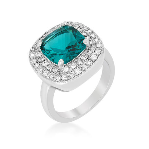 Blair Aqua Blue Cushion Cut Cocktail Ring | 5 Carat | Cubic Zirconia