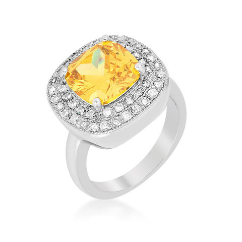 Blair Canary Yellow Cushion Cut Cocktail Ring | 5 Carat | Cubic Zirconia