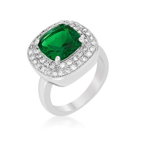 Blair Emerald Green Cushion Cut Cocktail Ring | 5 Carat | 3 Carat | Cubic Zirconia