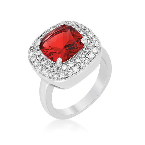 Blair Ruby Red Cushion Cut Cocktail Ring | 5ct | Cubic Zirconia | Silver