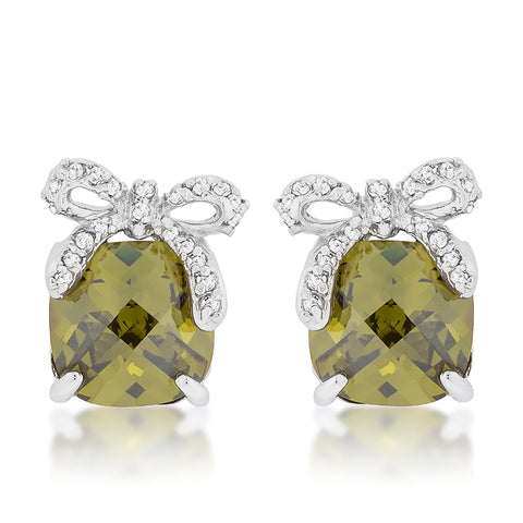 Blanche Olivine Cushion Bow Stud Earrings