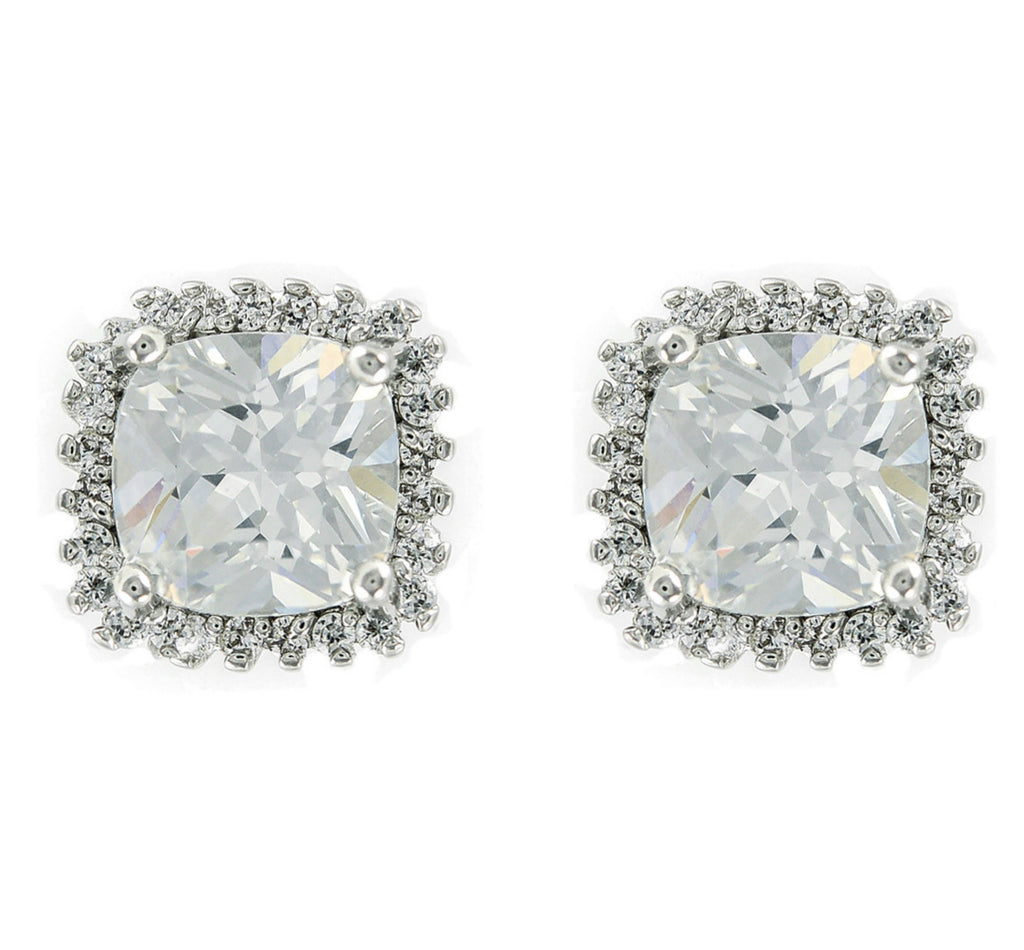 Blima Princess Halo CZ  Stud Earrings | Cubic Zirconia | Silver