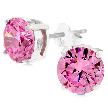 Blossom Pink Round Cut Stud Earrings – 7mm | 2ct | Sterling Silver
