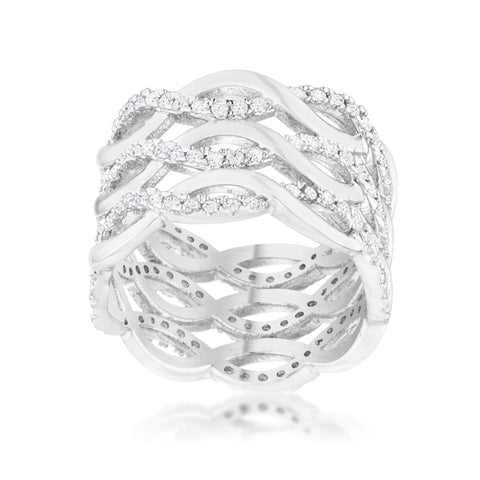 Brandy Twist Wide Cocktail Ring | 1.5ct | Cubic Zirconia | Silver