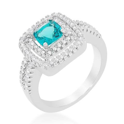 Brida Aqua Blue Cushion Cut Double Halo Cocktail 5.5 Carat  Cubic Zirconia Ring. - Beloved Sparkles