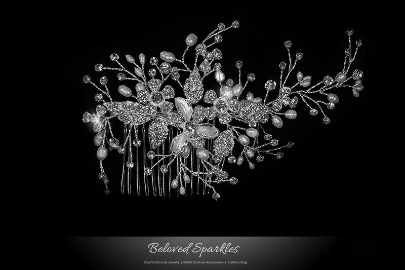 Vicky Floral Spray White Pearl Hair Comb | Pearl | Swarovski Crystal - Beloved Sparkles  - 1