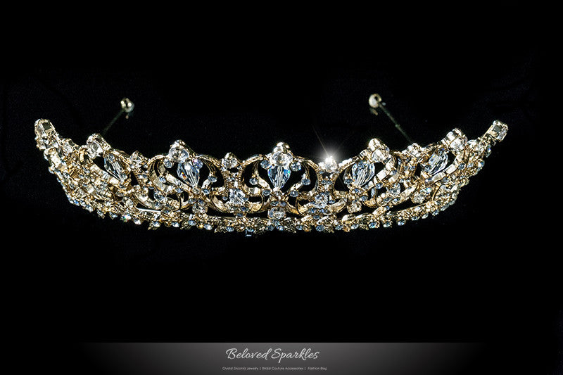 Marissa Vintage Art Deco Gold Tiara | Swarovski Crystal - Beloved Sparkles  - 1