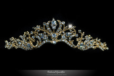 Dita Floral Filigree Gold Tiara | Swarovski Crystal - Beloved Sparkles  - 1