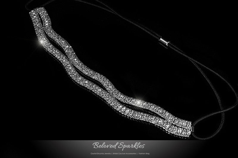 Conesa Crystal Two Rows Stretchable Headband | Rhinestone - Beloved Sparkles