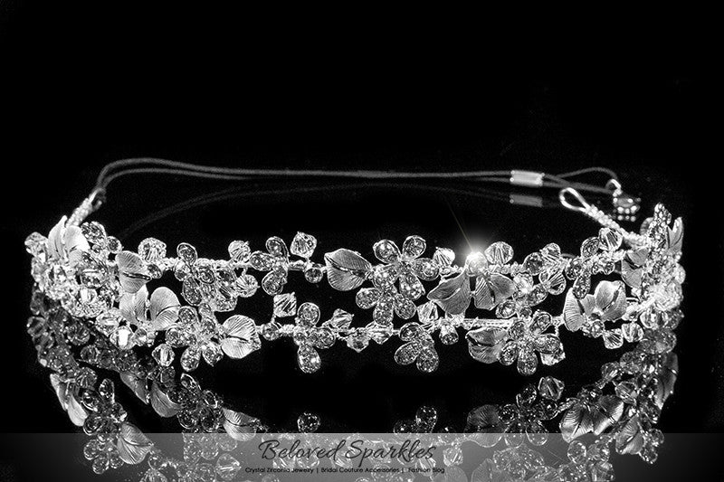 Cherise Two Row Flower Silver Headband | Swarovski Crystal - Beloved Sparkles  - 1