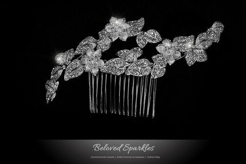 Nikki Art Deco Flower Hair Comb | Swarovski Crystal