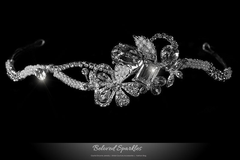 Rosalba Twin Flower Pearl Silver Headband | Swarovski Crystal - Beloved Sparkles  - 1
