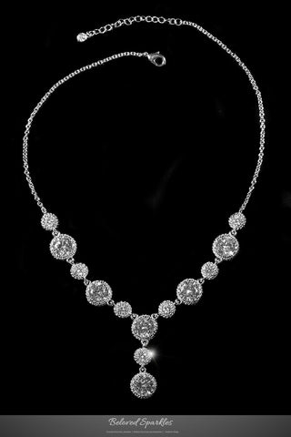 Jacky Fashion Milgrain Round Dangle Necklace | 45 Carat | Cubic Zirconia - Beloved Sparkles  - 1