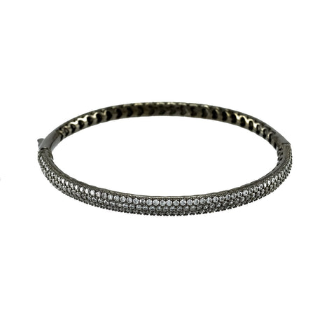 Brier Black CZ Micropave Hematite Bangle Bracelet