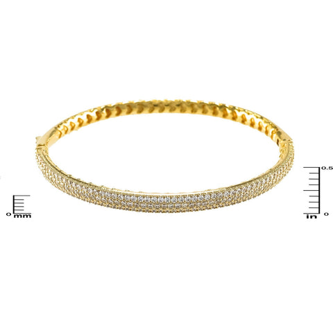 Brier CZ Micropave Goldtone Bangle Bracelet
