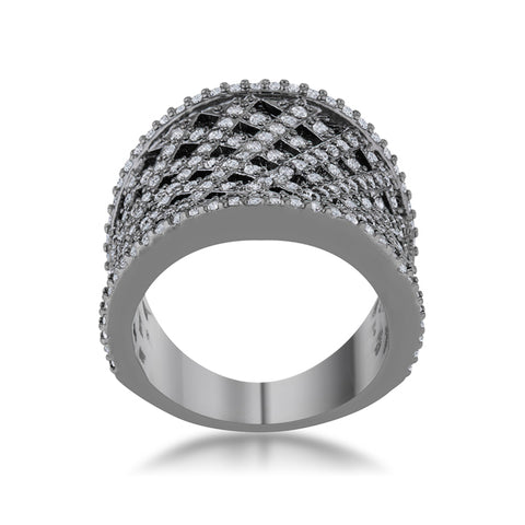 Brin Hematite Wide Woven Style Ring | 2ct | Cubic Zirconia