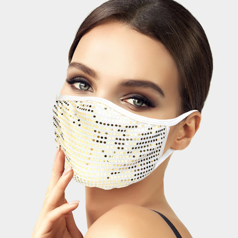Brina Gold Sequin White Face Mask