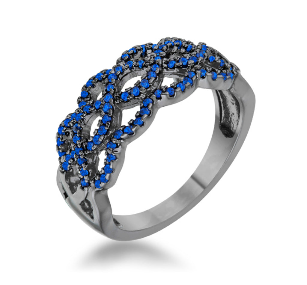 Brina Sapphire Hematite Contemporary Twist Ring | 1 Carat | Cubic Zirconia - Beloved Sparkles  - 1