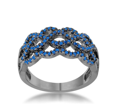 Brina Sapphire Hematite Contemporary Twist Ring | 1 Carat | Cubic Zirconia - Beloved Sparkles  - 2