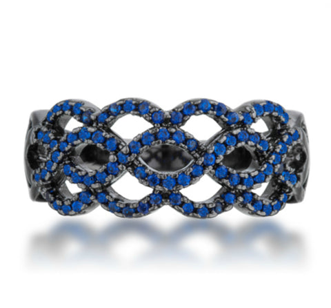 Brina Sapphire Hematite Contemporary Twist Ring | 1 Carat | Cubic Zirconia - Beloved Sparkles  - 3