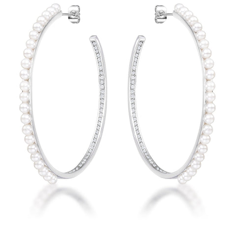 Brook Inside Out Cubic Zirconia and Pearl Hoops
