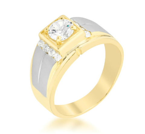 Bryan Two-Tone CZ Men Ring | 1.5ct | Cubic Zirconia