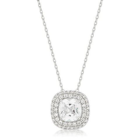 Burke Cushion Cut Double Halo Pendant | 7.5ct