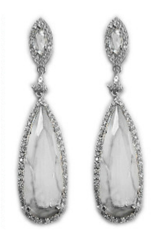 Cadena Long Dangle Chandelier Earrings | Cubic Zirconia | Silver