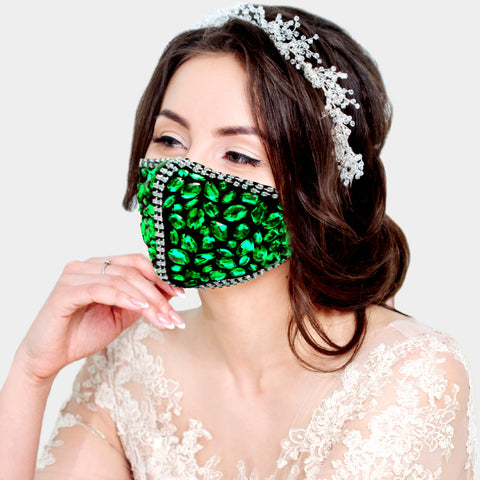 Cait Pink Multi Stone Embellished Fashion Mask