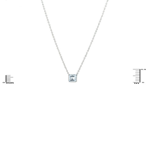 Caita Asscher Solitaire Silver Pendant Necklace – 7mm | 1ct