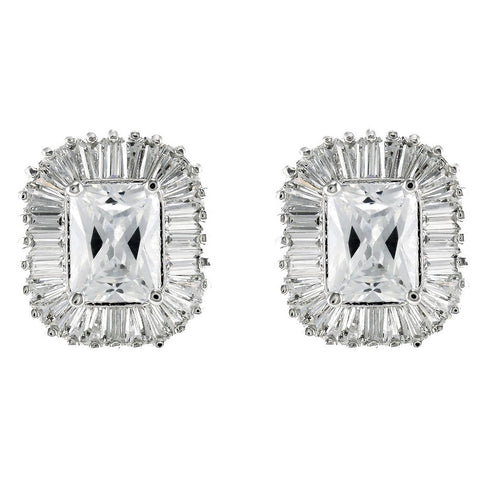 Calia Radiant Halo CZ  Stud Earrings | Cubic Zirconia | Silver